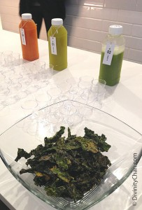 Fresh squeezed juices and kale chips